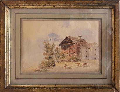 JUNG Théodore (1803-1865)  Paysage au Châlet...