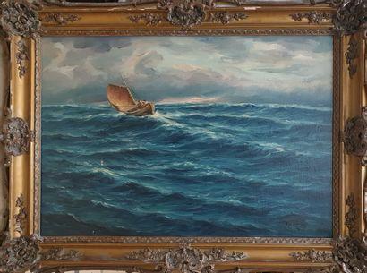 ECOLE MODERNE  Barque dans la tempête  Huile...