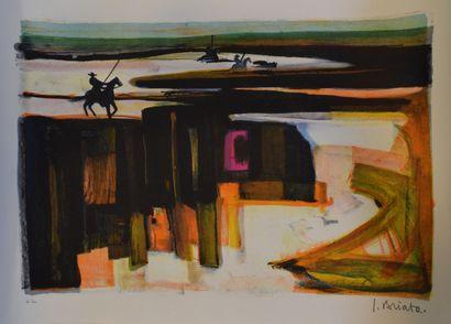 BRIATA Georges (1933-2019)  Les arènes,  Lithographie, signé en bas à droite et...