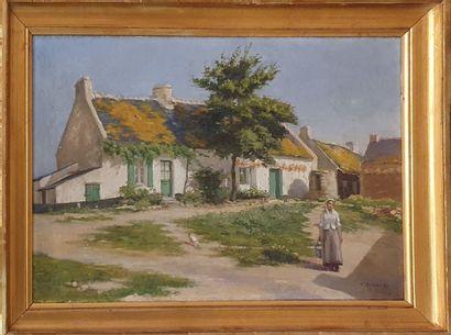 DUVANEL Jules (1844-?)  Paysanne devant sa...