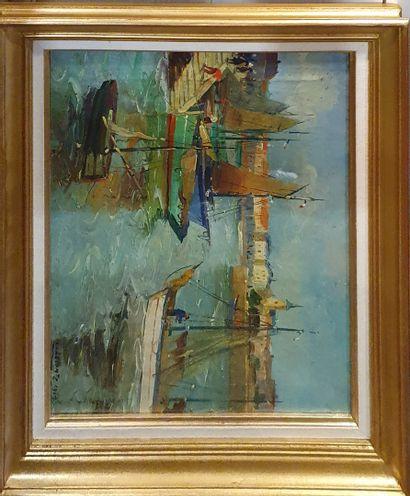 LECOMTE Léopold (1890-1963)  Port, 1947  Huile...