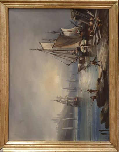 MARX Johannes (1864-1937)  Port animé  Huile...