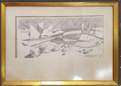 PLISSON Henri (1908-2002)  Barques, 1973...
