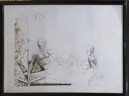 JONCIERES (XX-XXI)  couple,  Crayon et encre...