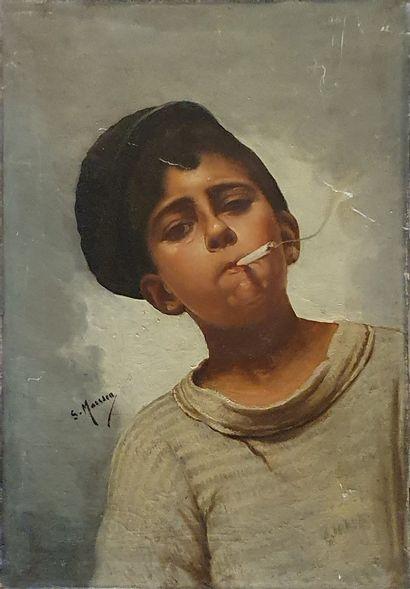 ECOLE MODERNE  Garçon fumant  Huile sur toile...