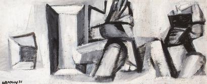 BROGLY Colette, XXe siècle  Composition grise,...