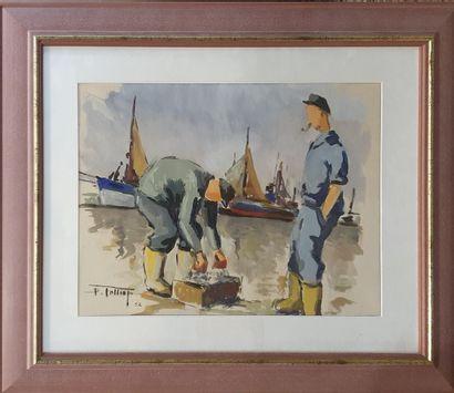 FOLLIOT Pierre (1923-1989)  Pêcheurs bretons,...
