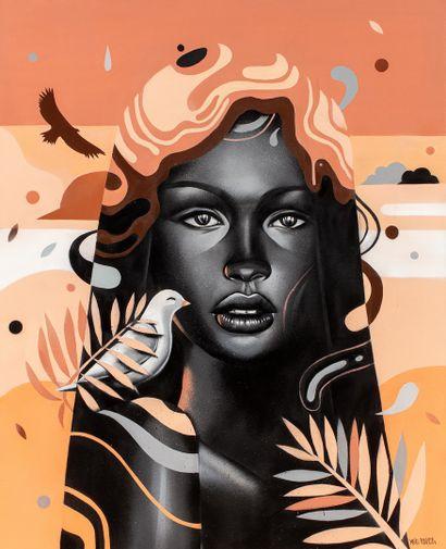 MSIEU BONHEUR, né en 1977  Black Lady  aérosol...