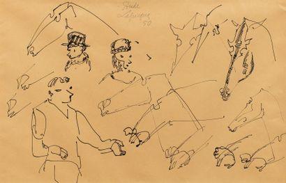 LAPICQUE Charles, 1898-1988,  Études de chevaux...