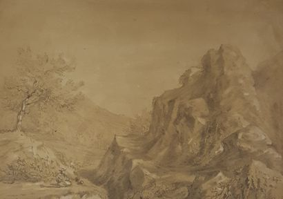 ROMIEUX Osmond (1826-1908)    Paysage,  crayon...