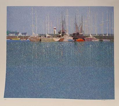BOURRIE André (né en 1936)  Le port,  Lithographie...