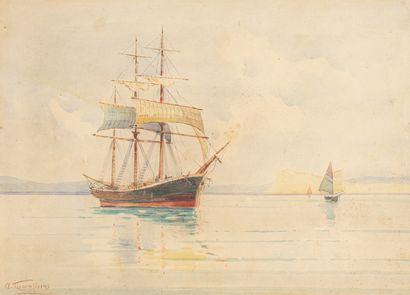 PROSALENTIS Emilios, 1859-1926  Trois-mâts...