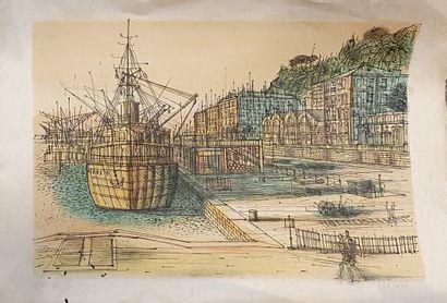 CARZOU Jean (1907-2000)  Vue du port de...