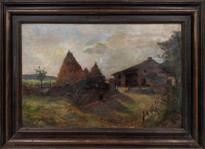 BONNETON Louis (1851-1933)  Les meules  Huile...