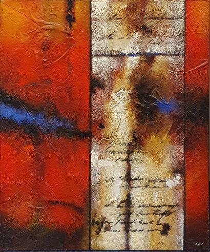 GIGLI Gilbert (XX)  Sans titre rouge  Peinture...