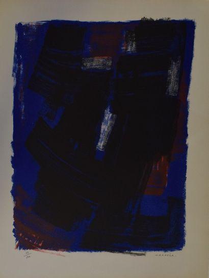 BARDONE Guy (1927-2015)  Paysage de bord de mer,  Lithographie sur papier  Signé...