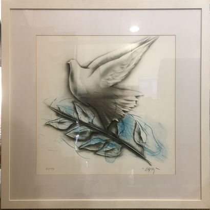KARAS Christos (né en 1930)  Colombe,  Lithographie...