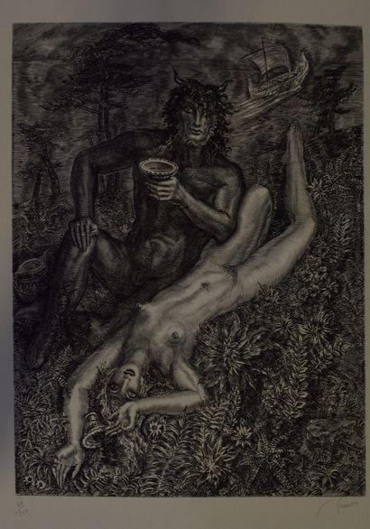 DECARIS Albert (1901-1988)    Léda et le Cygne,  Gravure sur papier, Signé et justifié...
