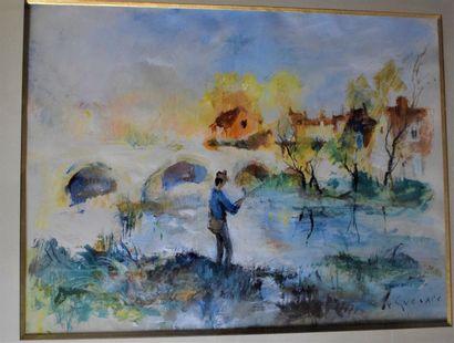 LE GUENNEC Jean (1924-1988)  Le pêcheur,...