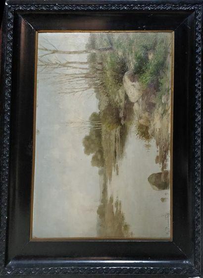 ECOLE XIXeme siècle  Bord de rivière,  huile...