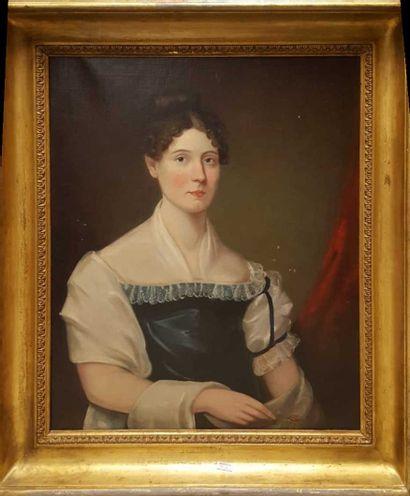 ECOLE XIXeme siècle  Portrait de femme  Huile...