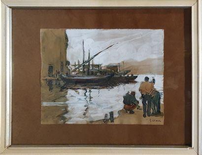 VIDAL Gustave (1895-1966)  Bateaux et pêcheurs...