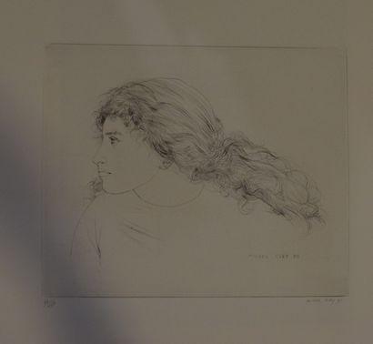 CIRY Michel (1919-2018)    Profil de jeune-femme,  gravure à l'encre noir sur papier....