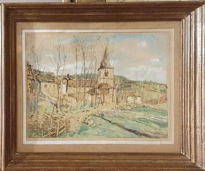 MENETRIER Eic ( 1958-2019 )  Village d'Auvergne,...