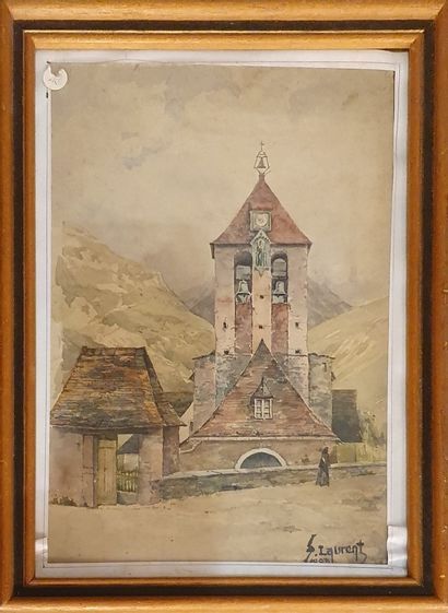 LAURENT F (XIX-XX)    Vue d'église en montagne,...