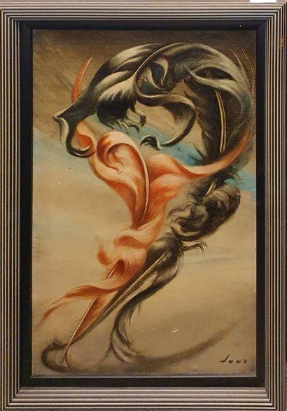 HAUS Rudolf (1897-1977)  Combat de plume...