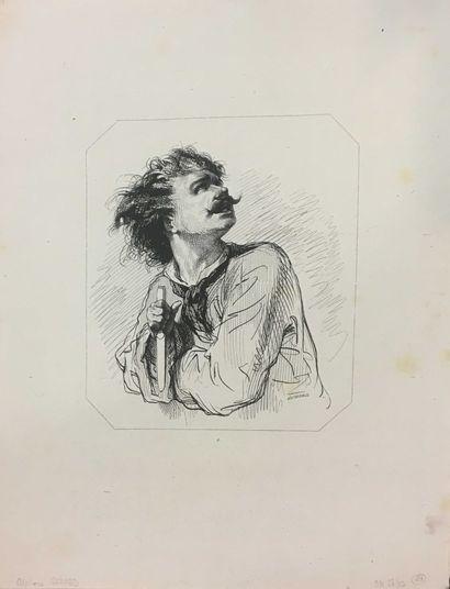 ECOLE MODERNE, Lot de 8 gravures:    GAVARNI Paul (1804-1866)  Portrait de femme,...