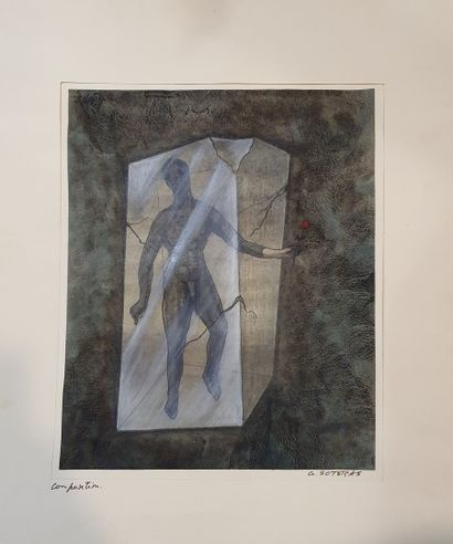 SOTERAS Georges (1917-1990)  Homme tenant...