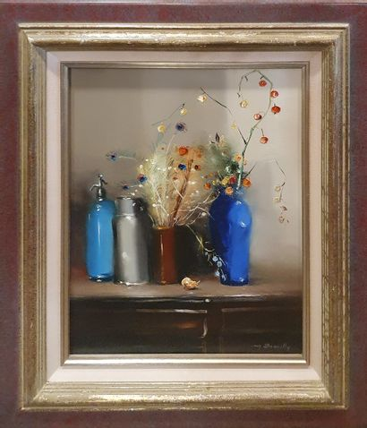 DEMILLY Maurice (XX)  Le vase bleu  Huile...