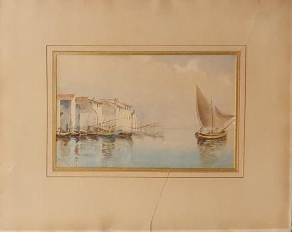 JEANNOLLE H (XIX-XXème)  Vue du port,  aquarelle...