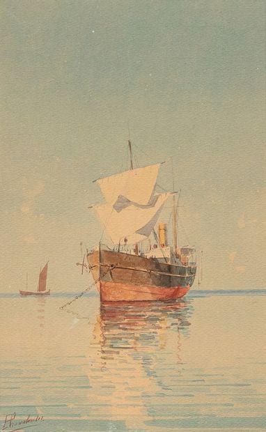 PROSALENTIS Emilios, 1859-1926  Bateau au...