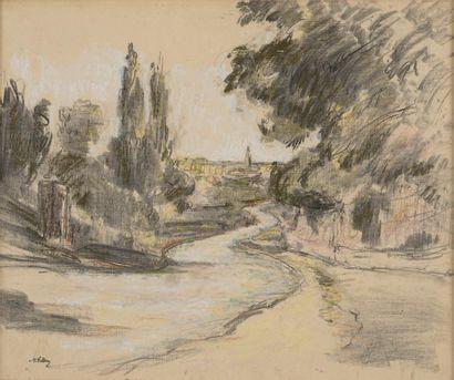 VOLLON Antoine, 1833-1900  Rivière et arbres...