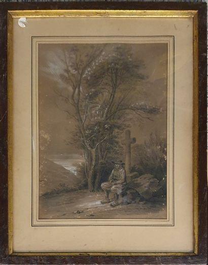 BARRET Félix Cl. (1807-1888)    Homme au...