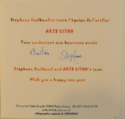 CORNEILLE (1922-2010)  Bonne année 2002,  Lithographie sur une carte de voeux, signée,...