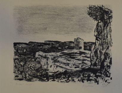 GALANIS Dimitrios Emmanuel (1882-1966)  Vue du parc,  Gravure à la pointe sèche...