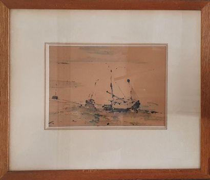 BERTRAM Abel, 1871-1954,  Bateaux échoués...