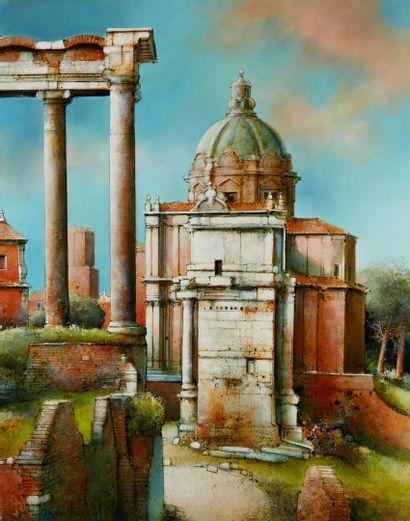 CHAPAUD Marc, né en 1941  Le forum à Rome...