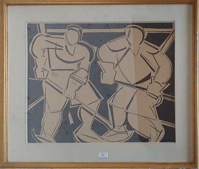 BURTIN Marcel, 1902-1979,  Les hockeyeurs,...