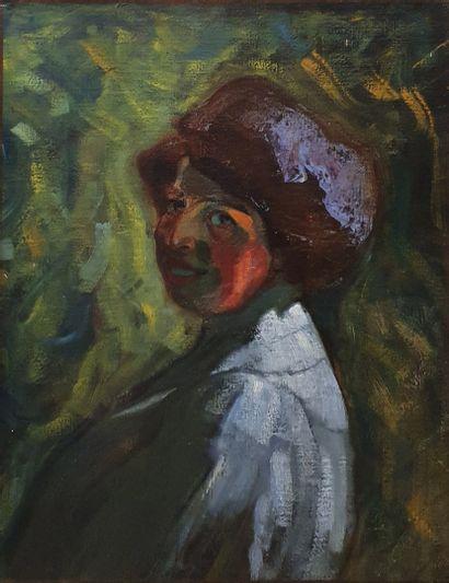 ECOLE MODERNE  Portrait de femme au fond...