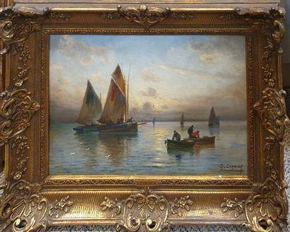 CORBIER Gaston (1869-1945)  Bâteaux de pêche...