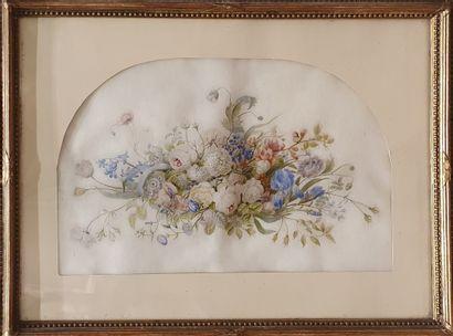 PIOT Jeanne, XXe siècle,  Composition florale,...
