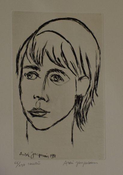 JACQUEMIN André (1904-1992)    Caractère, 1991  Gravure sur papier ,  Signé, daté...