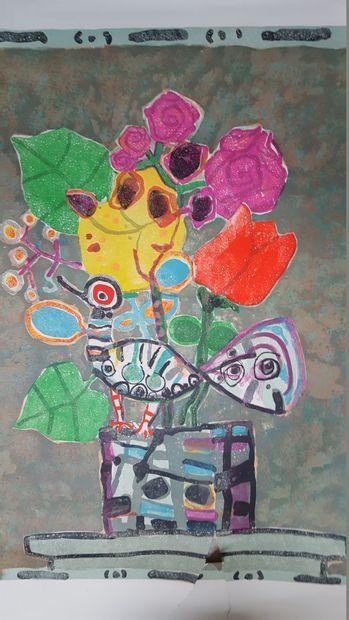 AÏZPIRI Paul (1919-2015)    Bouquet à l'oiseau,...