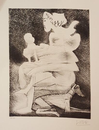VILATO Javier (1921-2000)  Femme et enfant...