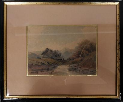 FRANTZ F., XIXe siècle,  Chalet en montagne,...