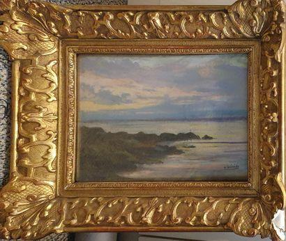 GUINIER H. (1867-1929)  Bord de mer,  Pastel...